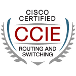 Logo for Cisco Certified Internetwork Expert certification in Routing and Switching